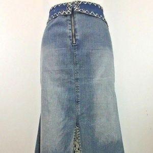 Crest Skirts - Crest Jeans SZ 20 Denim Skirt Vintage Boho Hippie